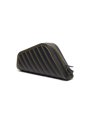 Detail View - Click To Enlarge - Balenciaga - 'Car S' logo print asymmetric quilted leather clutch