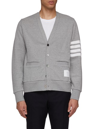 Main View - Click To Enlarge - THOM BROWNE - Stripe sleeve French terry cardigan