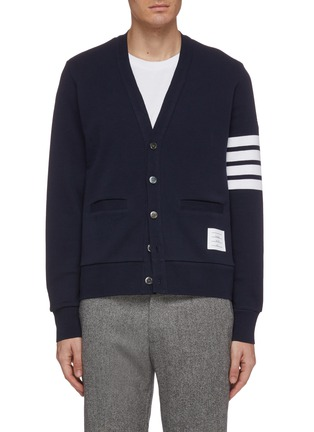 Main View - Click To Enlarge - THOM BROWNE - Stripe sleeve jersey cardigan