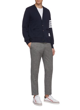 Figure View - Click To Enlarge - THOM BROWNE - Stripe sleeve jersey cardigan