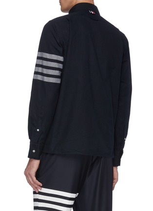 Back View - Click To Enlarge - THOM BROWNE - Stripe sleeve chest pocket zip shirt