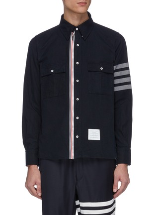 Main View - Click To Enlarge - THOM BROWNE - Stripe sleeve chest pocket zip shirt