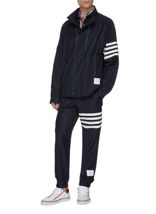 Figure View - Click To Enlarge - THOM BROWNE - Stripe sleeve chest pocket zip shirt