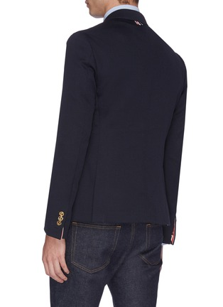 Back View - Click To Enlarge - THOM BROWNE - Stripe placket twill soft blazer