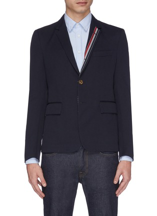 Main View - Click To Enlarge - THOM BROWNE - Stripe placket twill soft blazer