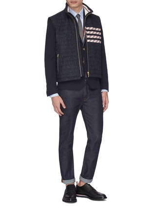 Figure View - Click To Enlarge - THOM BROWNE - Stripe placket twill soft blazer