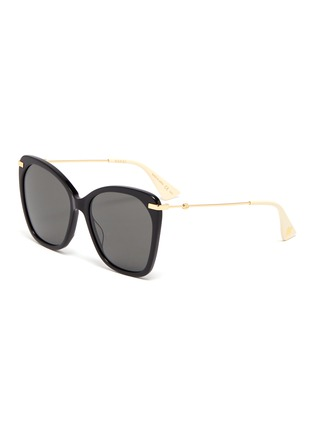 Main View - Click To Enlarge - GUCCI - Metal temple oversized acetate butterfly sunglasses