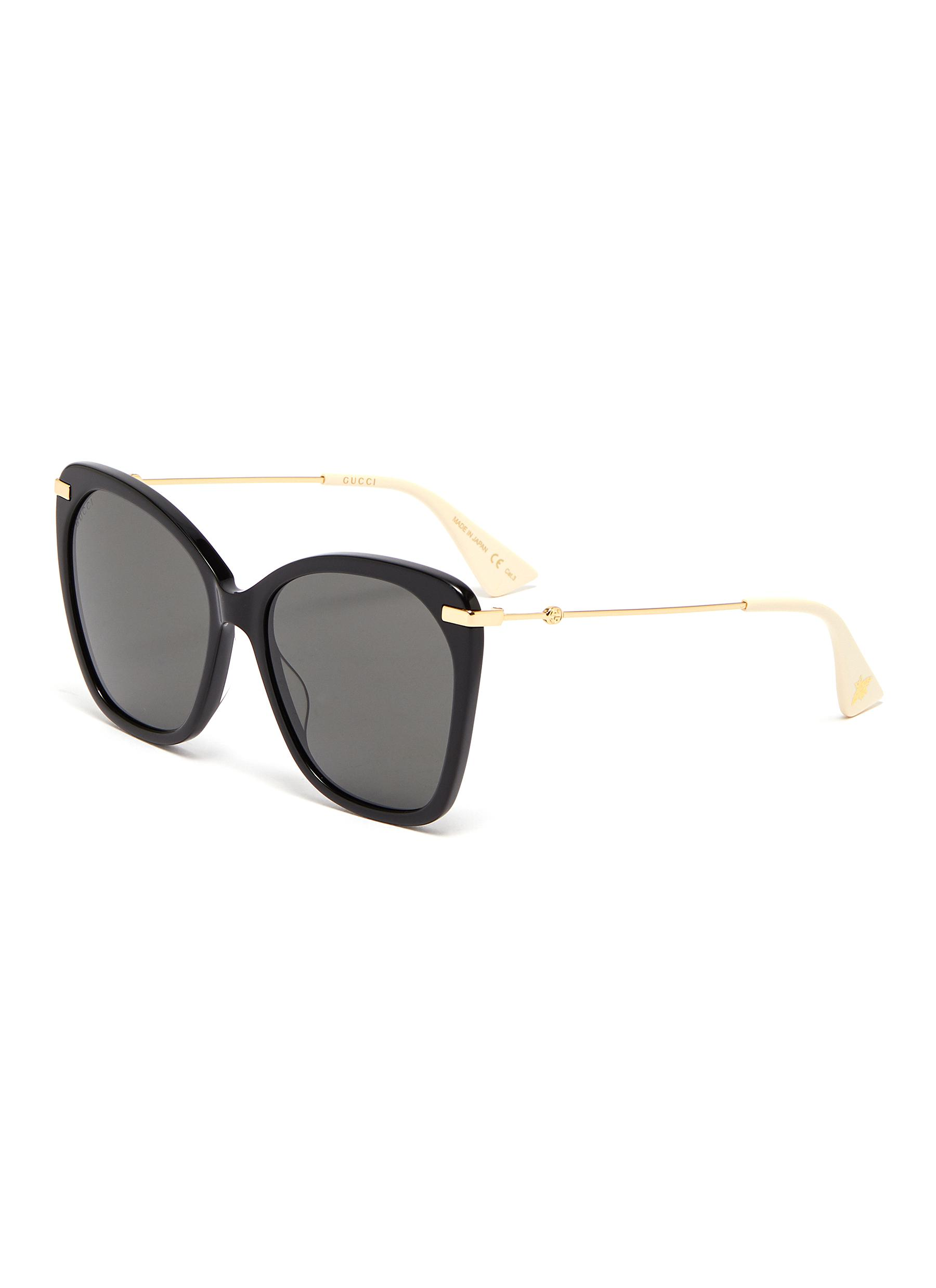 f4d60297062a Main View - Click To Enlarge - GUCCI - Metal temple oversized acetate  butterfly sunglasses