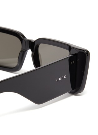 Detail View - Click To Enlarge - GUCCI - Acetate rectangular frame sunglasses
