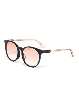 Main View - Click To Enlarge - GUCCI - Colourblock acetate round sunglasses