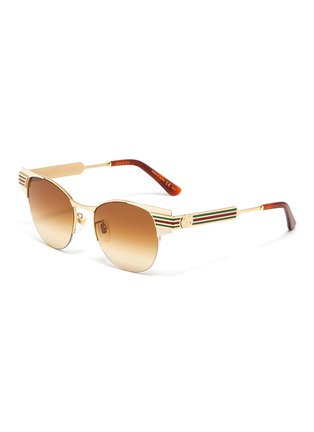 Main View - Click To Enlarge - GUCCI - Web stripe temple metal round sunglasses
