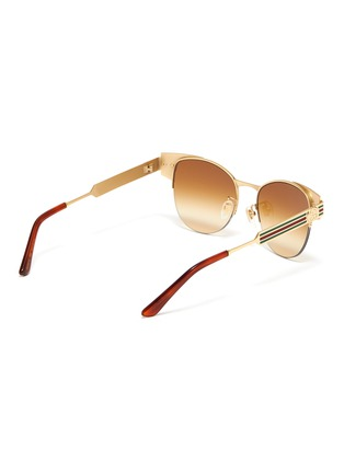 Figure View - Click To Enlarge - GUCCI - Web stripe temple metal round sunglasses