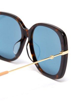 Detail View - Click To Enlarge - GUCCI - Metal temple tortoiseshell acetate butterfly sunglasses