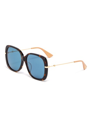 Main View - Click To Enlarge - GUCCI - Metal temple tortoiseshell acetate butterfly sunglasses