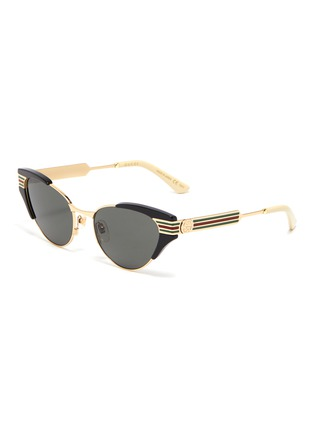 Main View - Click To Enlarge - GUCCI - Web stripe temple metal cat eye sunglasses