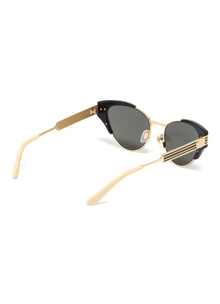 Figure View - Click To Enlarge - GUCCI - Web stripe temple metal cat eye sunglasses