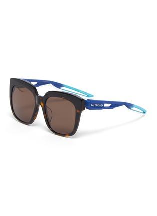 Main View - Click To Enlarge - BALENCIAGA - 'Hybrid' tortoiseshell acetate front square sunglasses