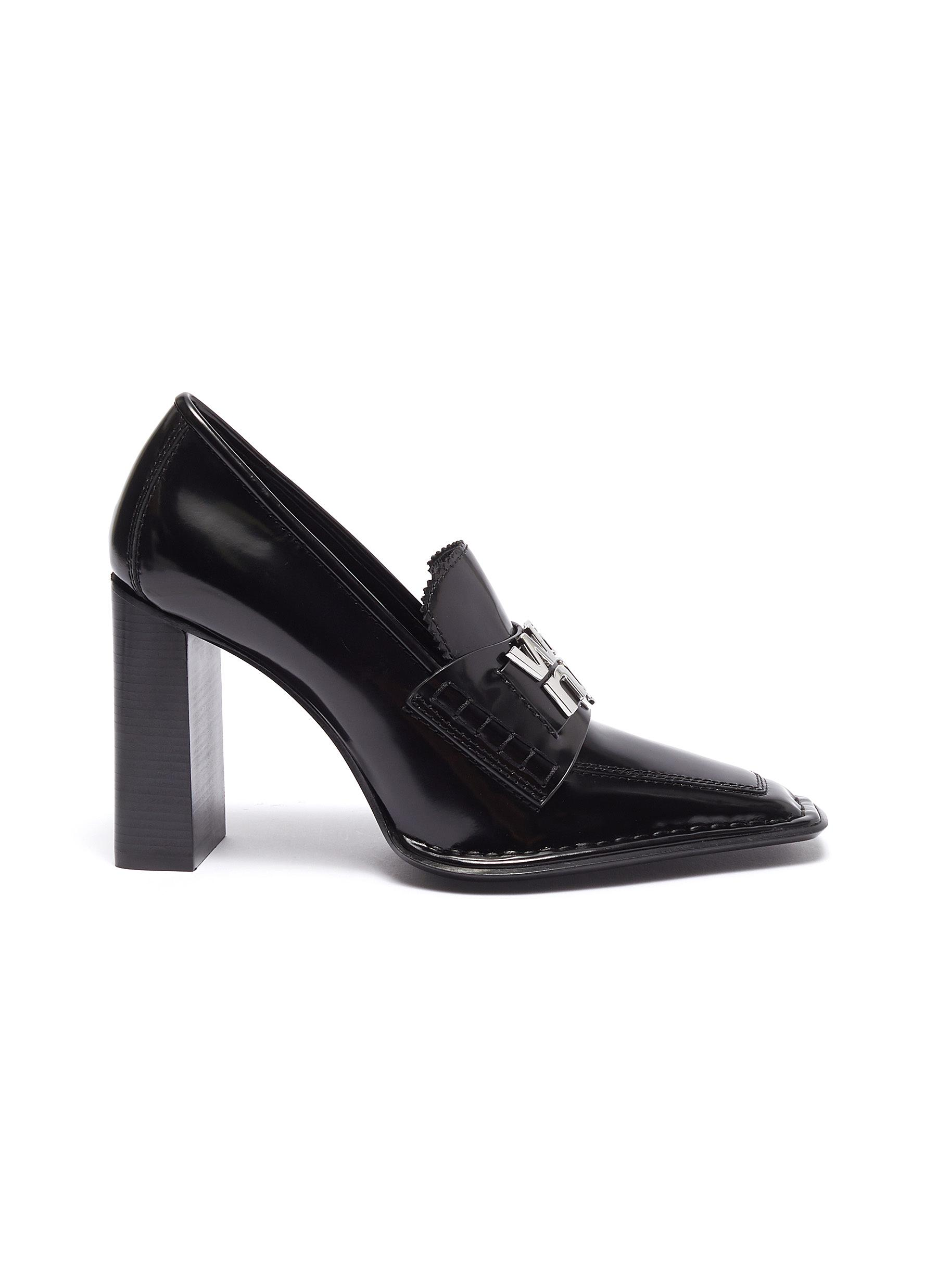 Parker logo plate leather loafer pumps by Alexanderwang