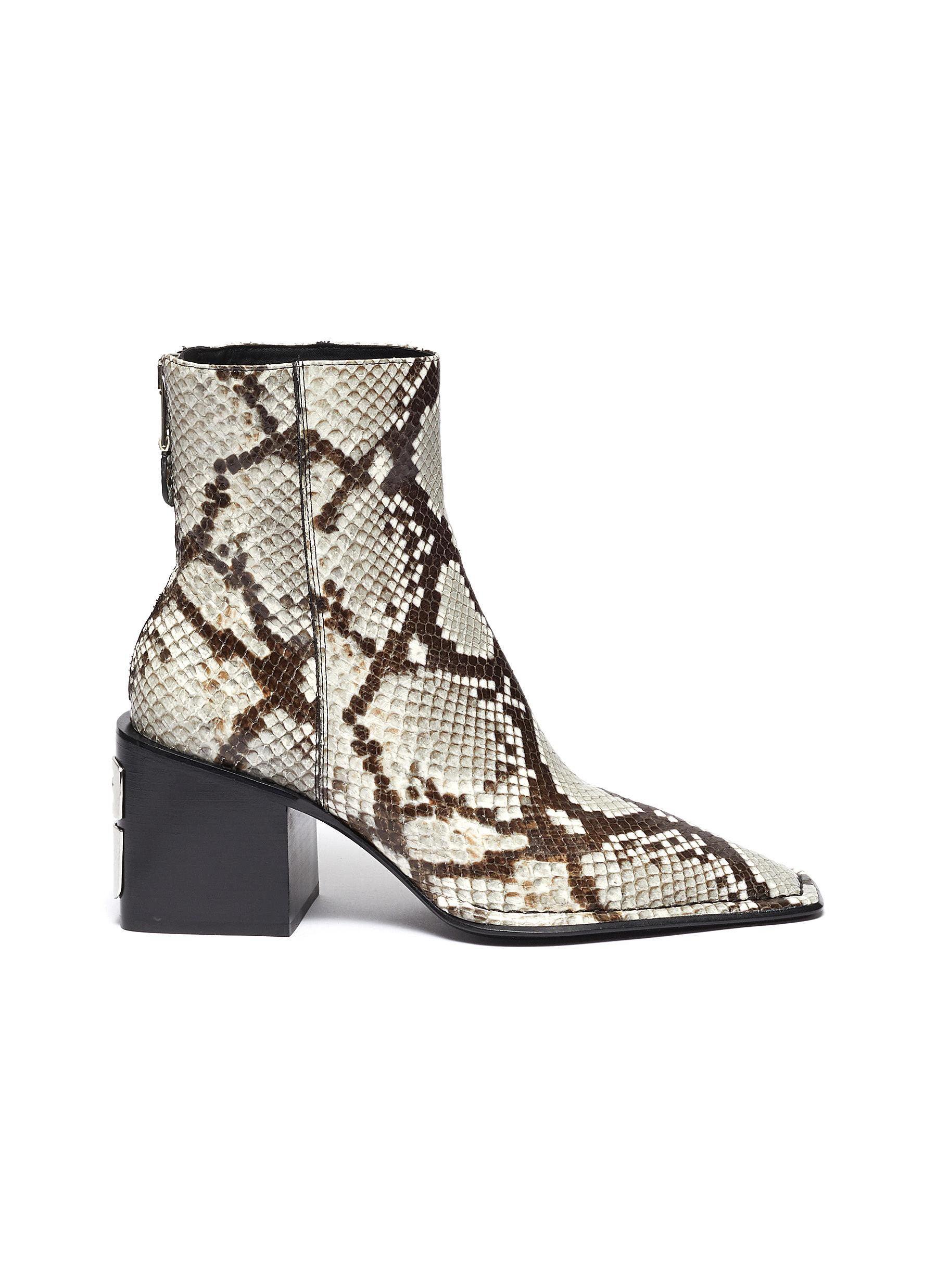 Parker snake embossed leather ankle boots by Alexanderwang