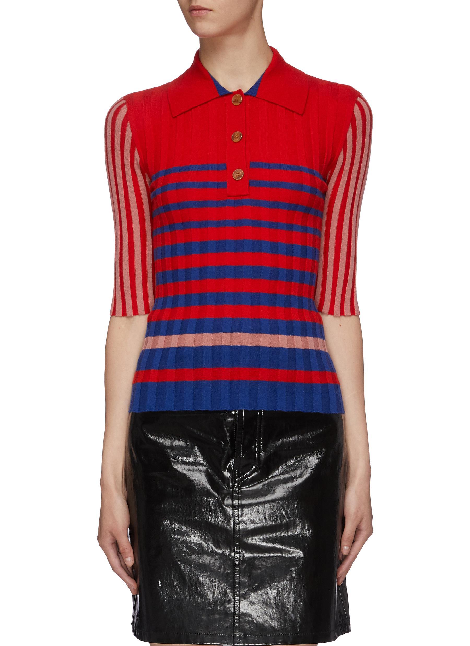 Mix stripe cashmere rib knit polo shirt by Sonia Rykiel