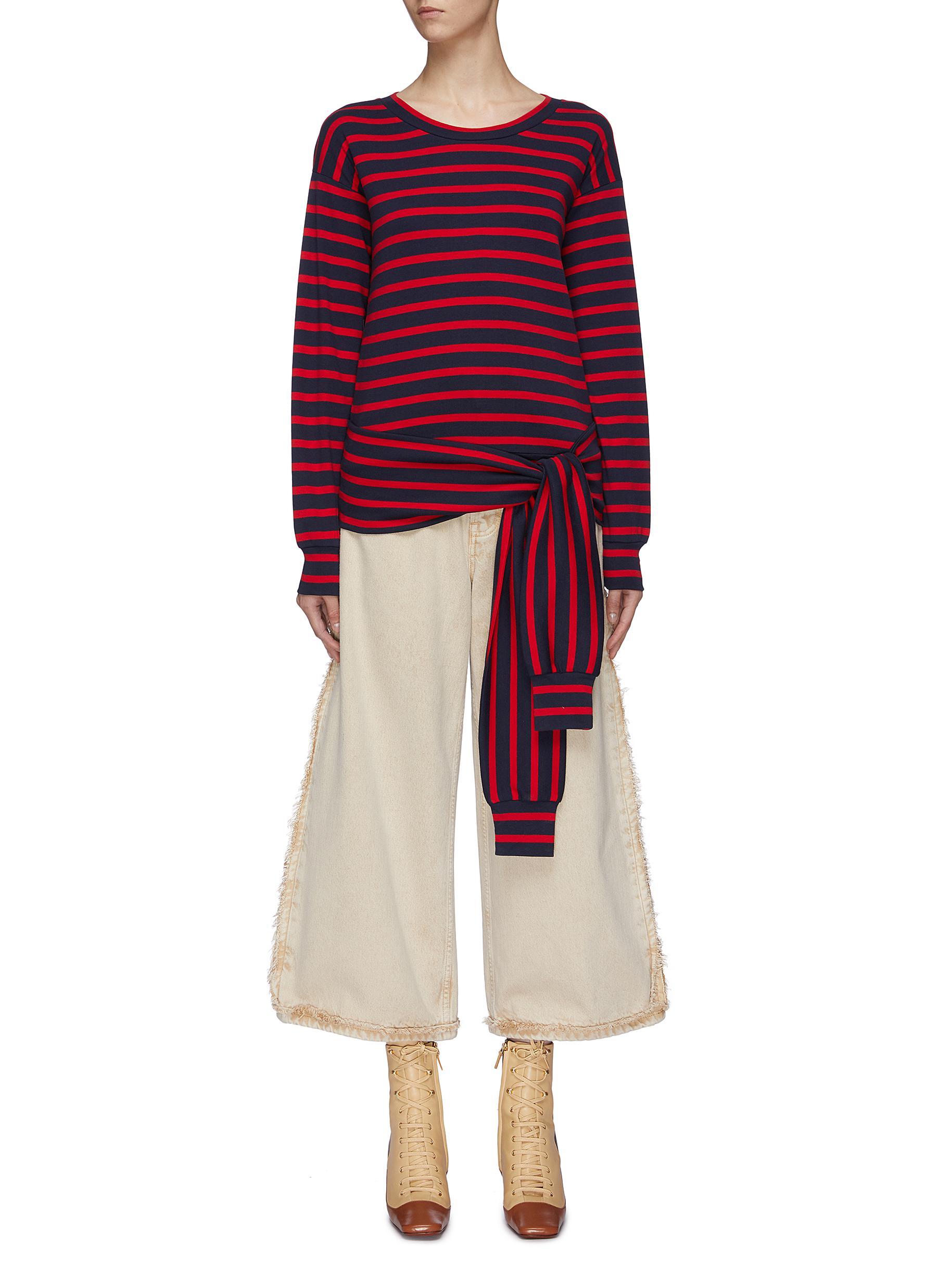 Sleeve tie waist stripe sweatshirt by Sonia Rykiel