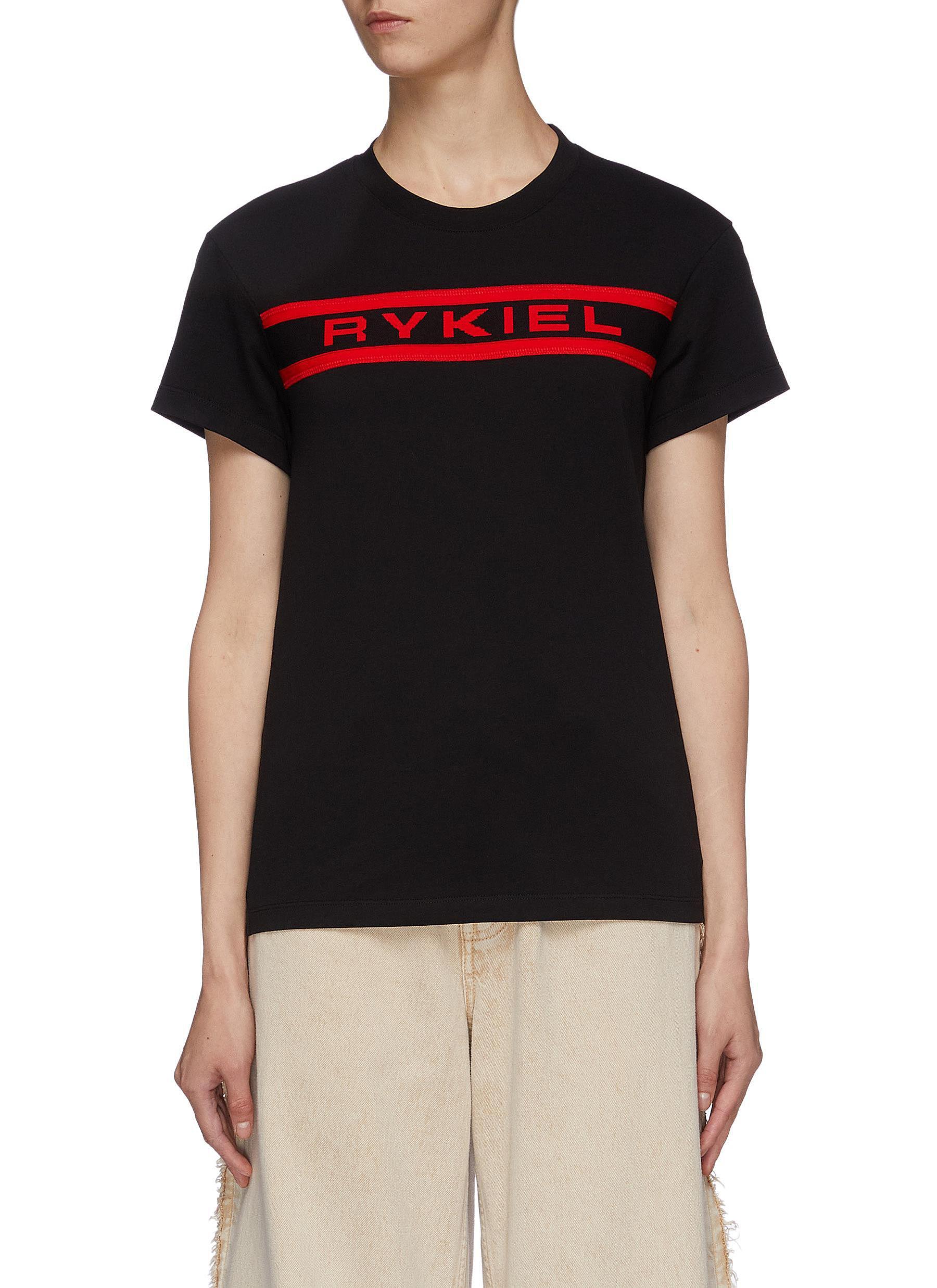 Logo jacquard appliqué T-shirt by Sonia Rykiel
