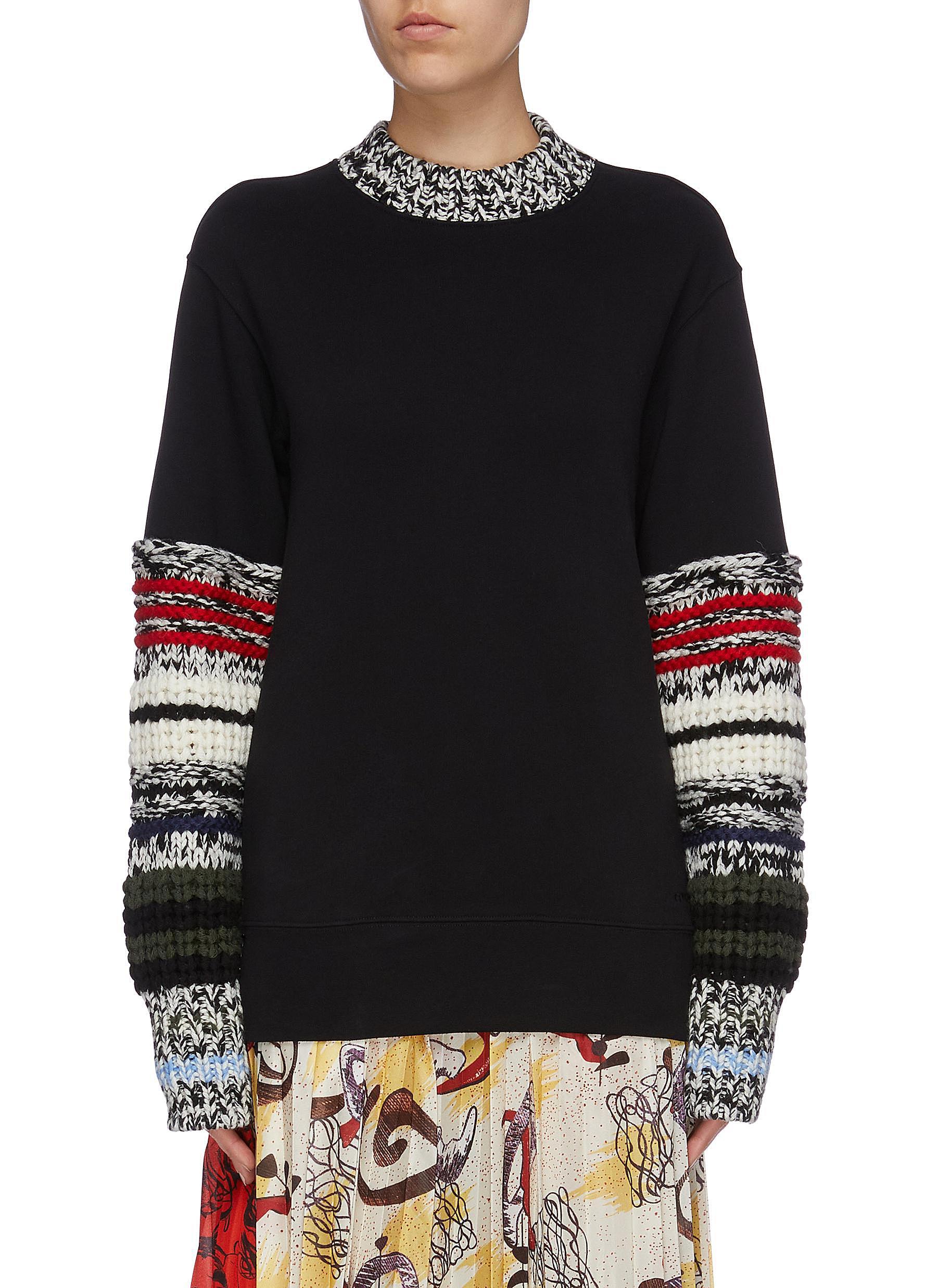 Patchwork wool knit sleeve sweatshirt by Sonia Rykiel