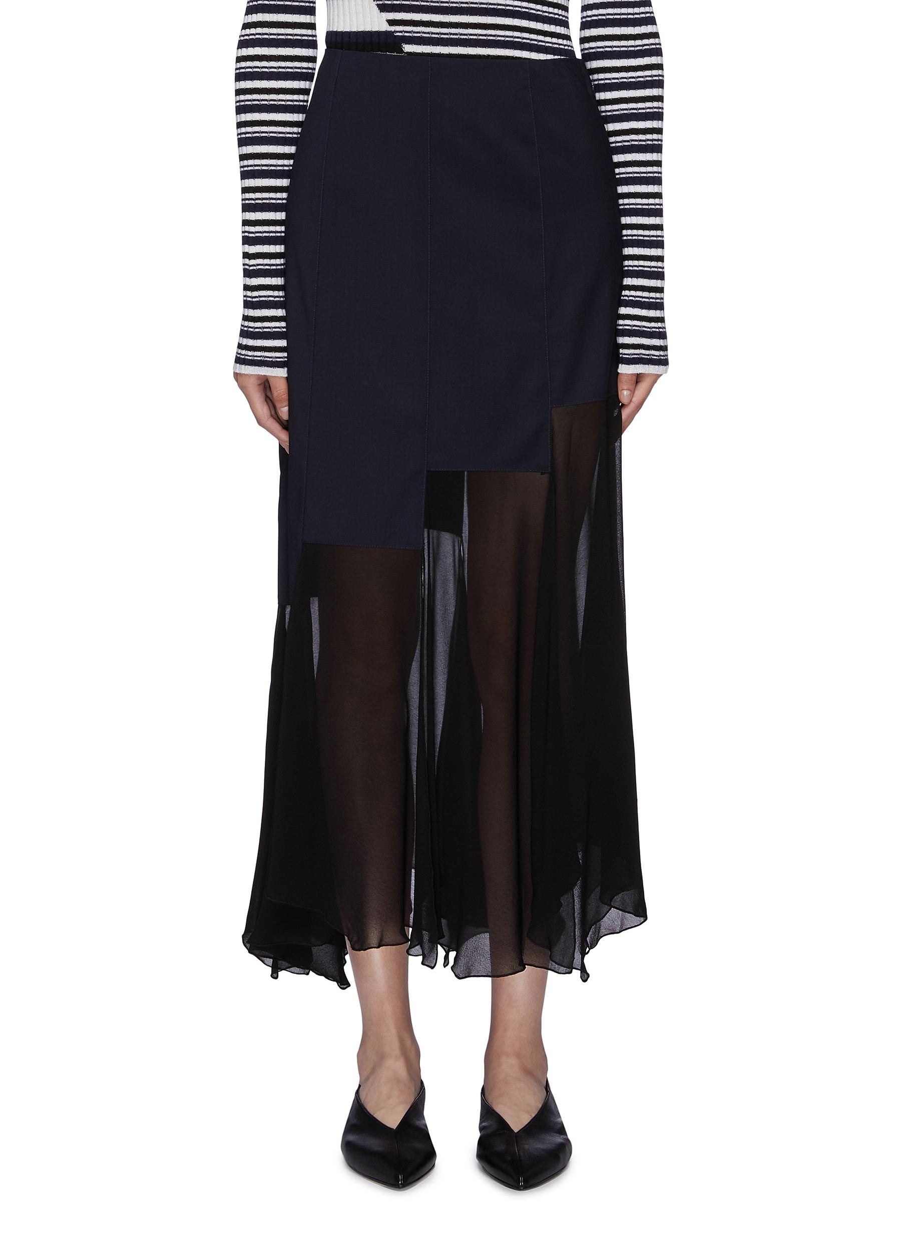 Staggered overlay ruffle hem georgette midi skirt by Sonia Rykiel