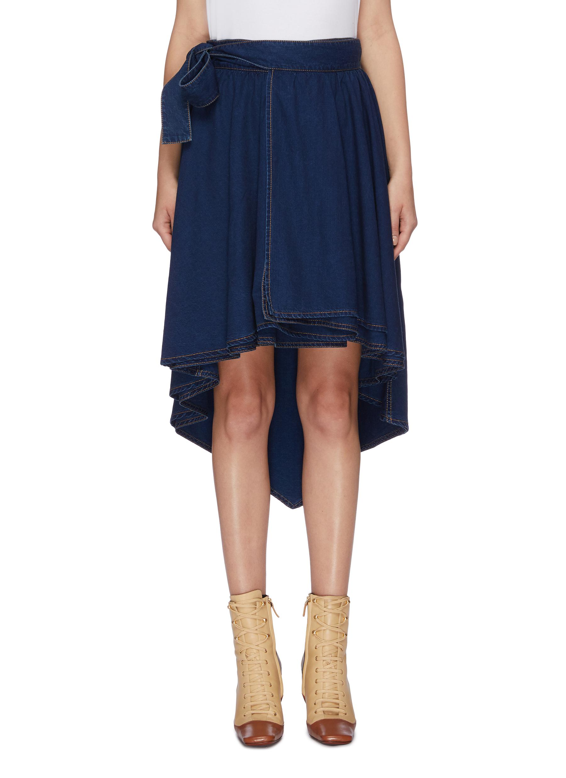 Belted high-low chambray skirt by Sonia Rykiel