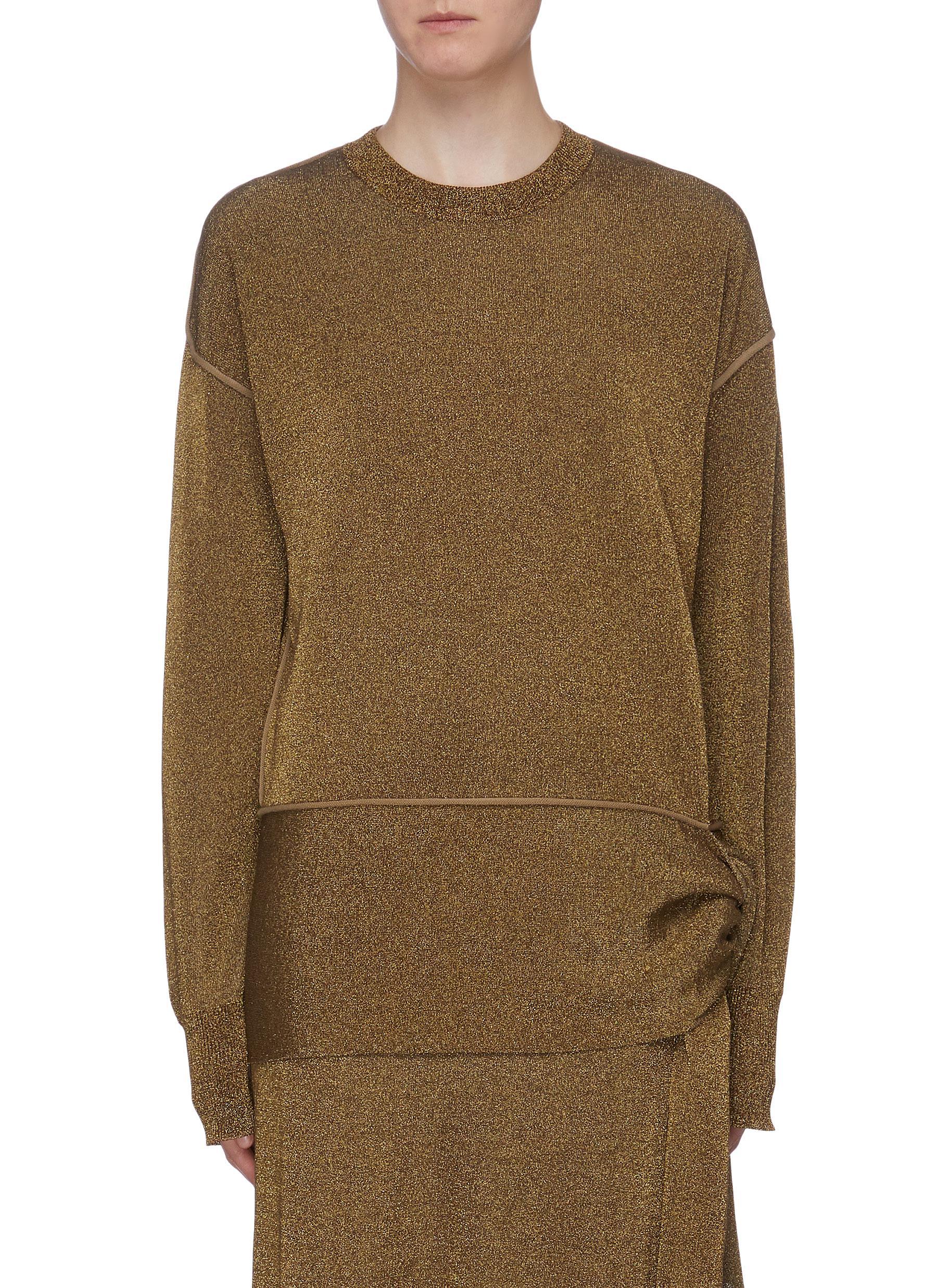 Tie side metallic sweater by Sonia Rykiel