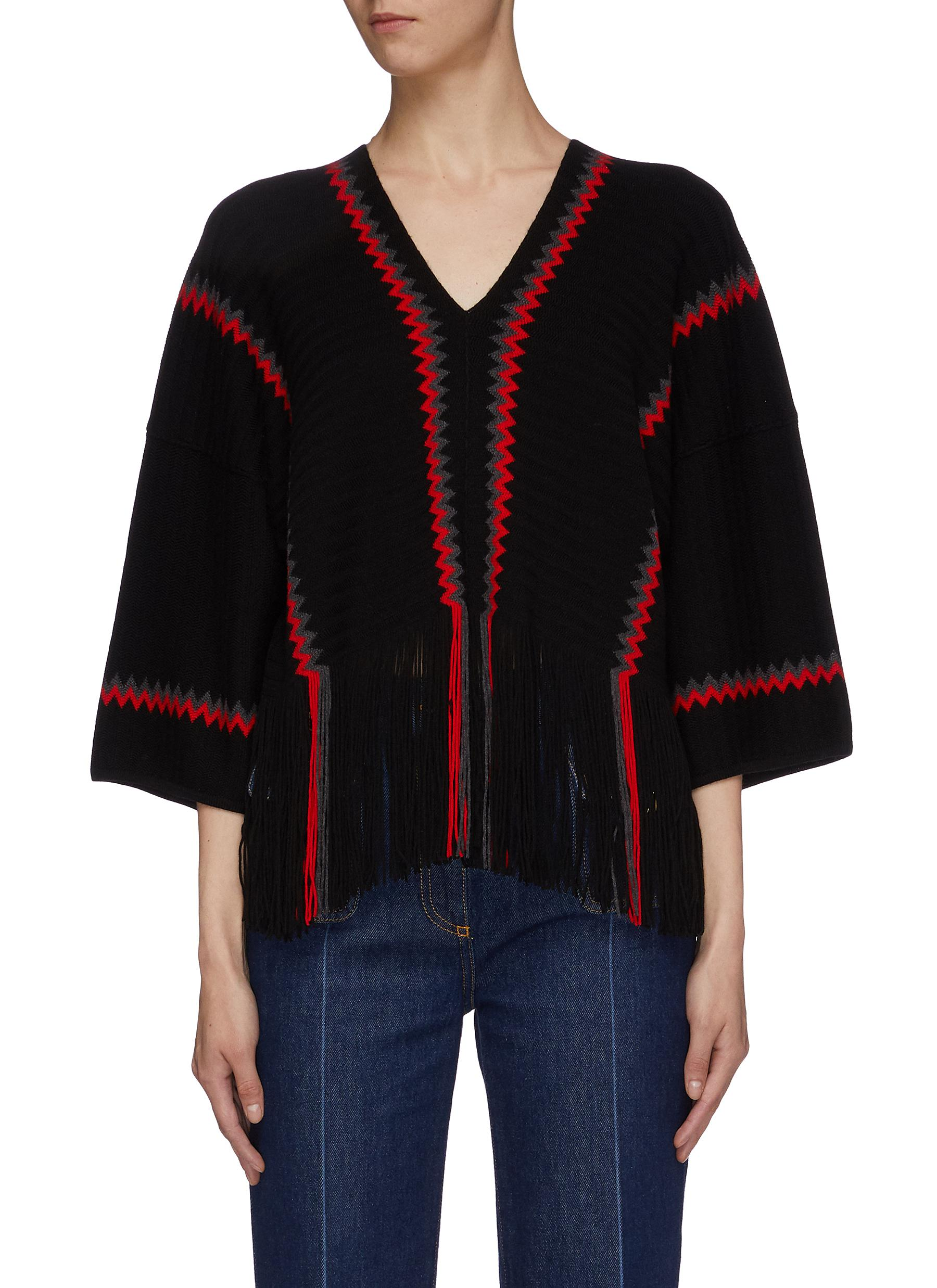 Zig zag stripe fringe hem wool knit top by Sonia Rykiel