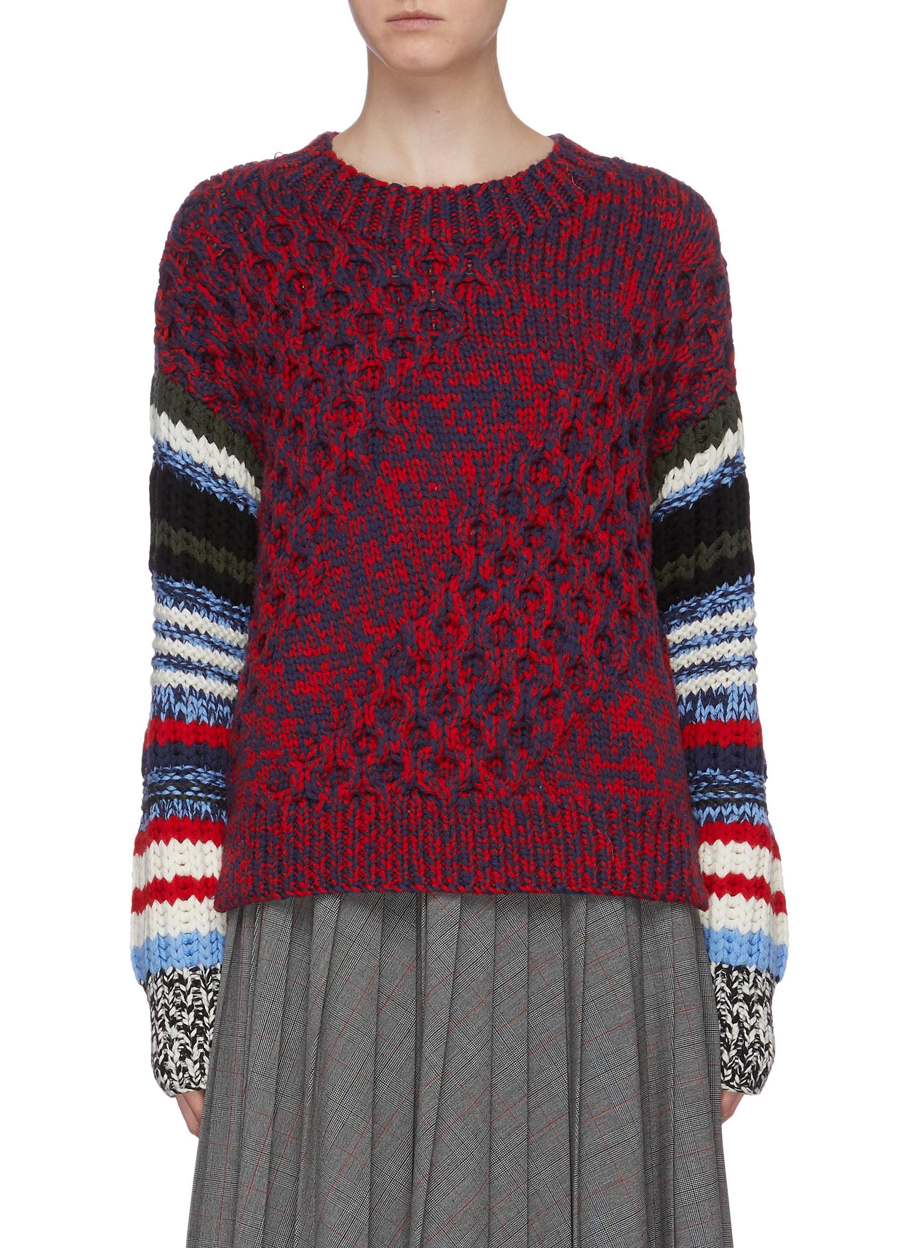 Logo back stripe sleeve chunky marled wool sweater by Sonia Rykiel