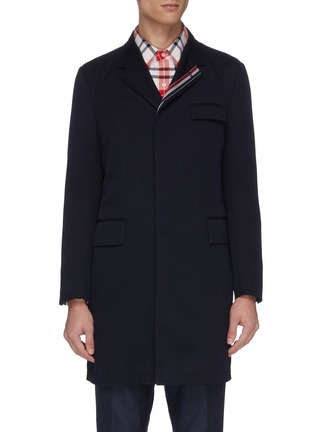 Main View - Click To Enlarge - THOM BROWNE - Stripe placket twill coat