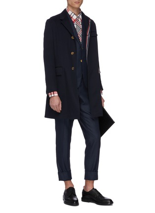 Figure View - Click To Enlarge - THOM BROWNE - Stripe placket twill coat