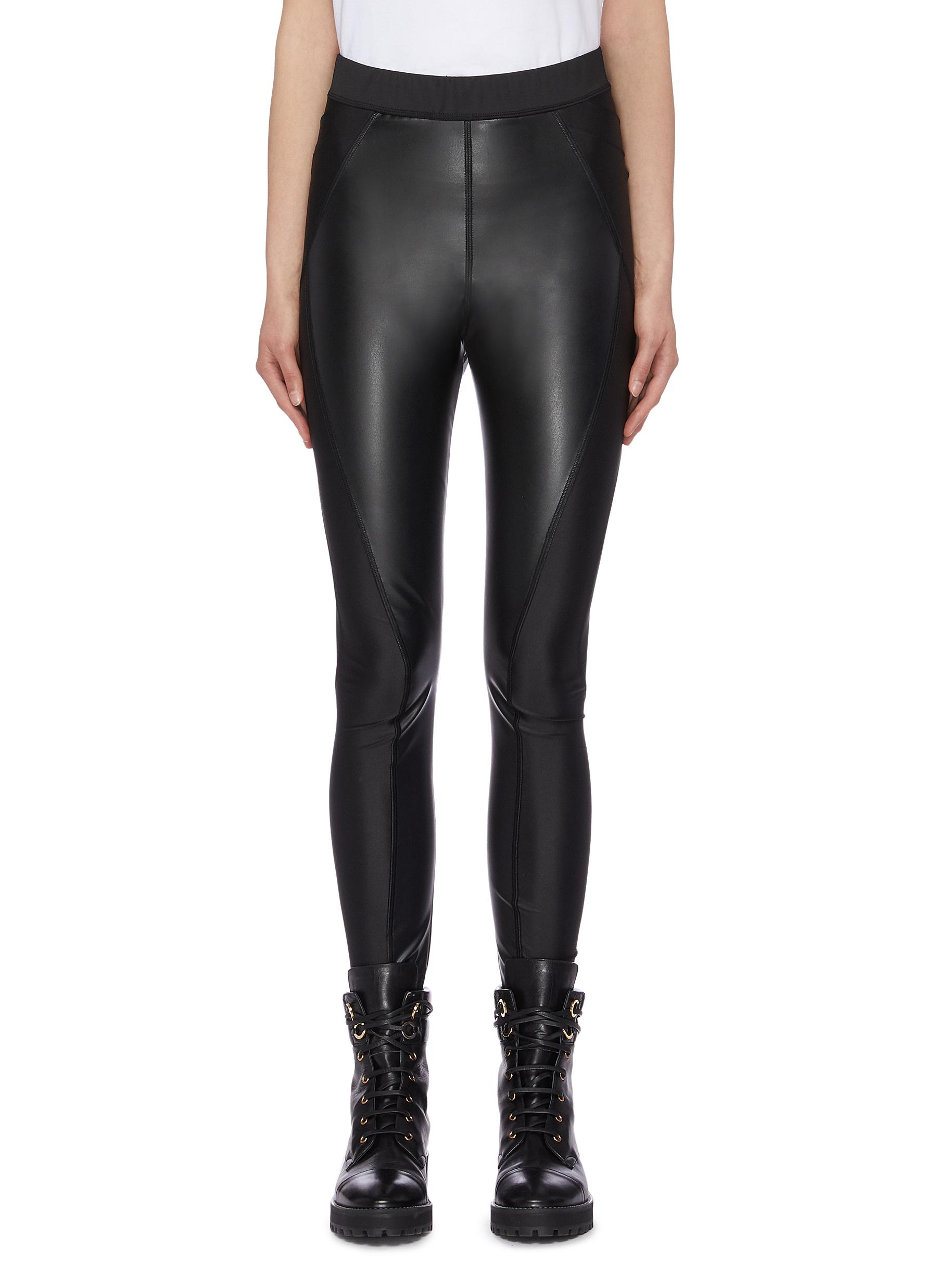 Panelled faux leather leggings by Sacai