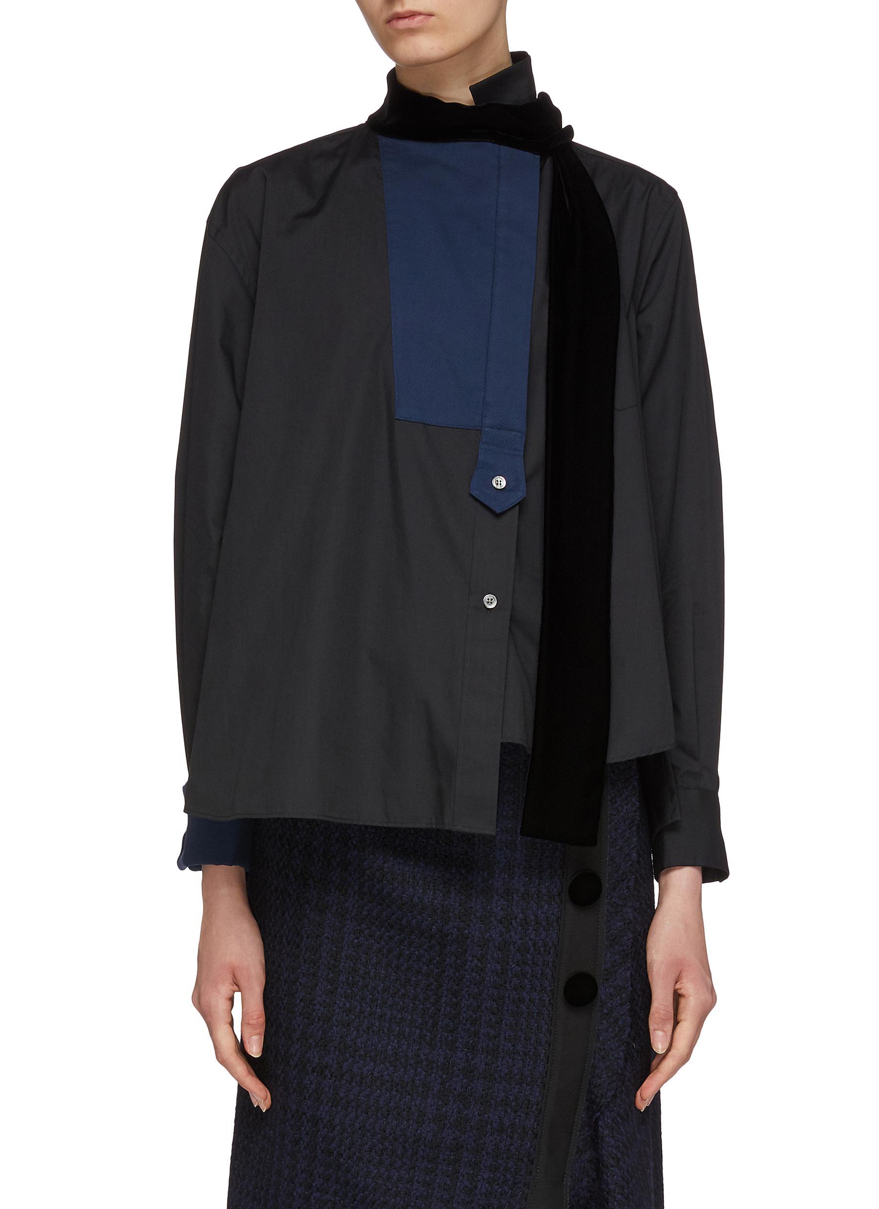 Velvet sash tie neck colourblock asymmetric shirt by Sacai