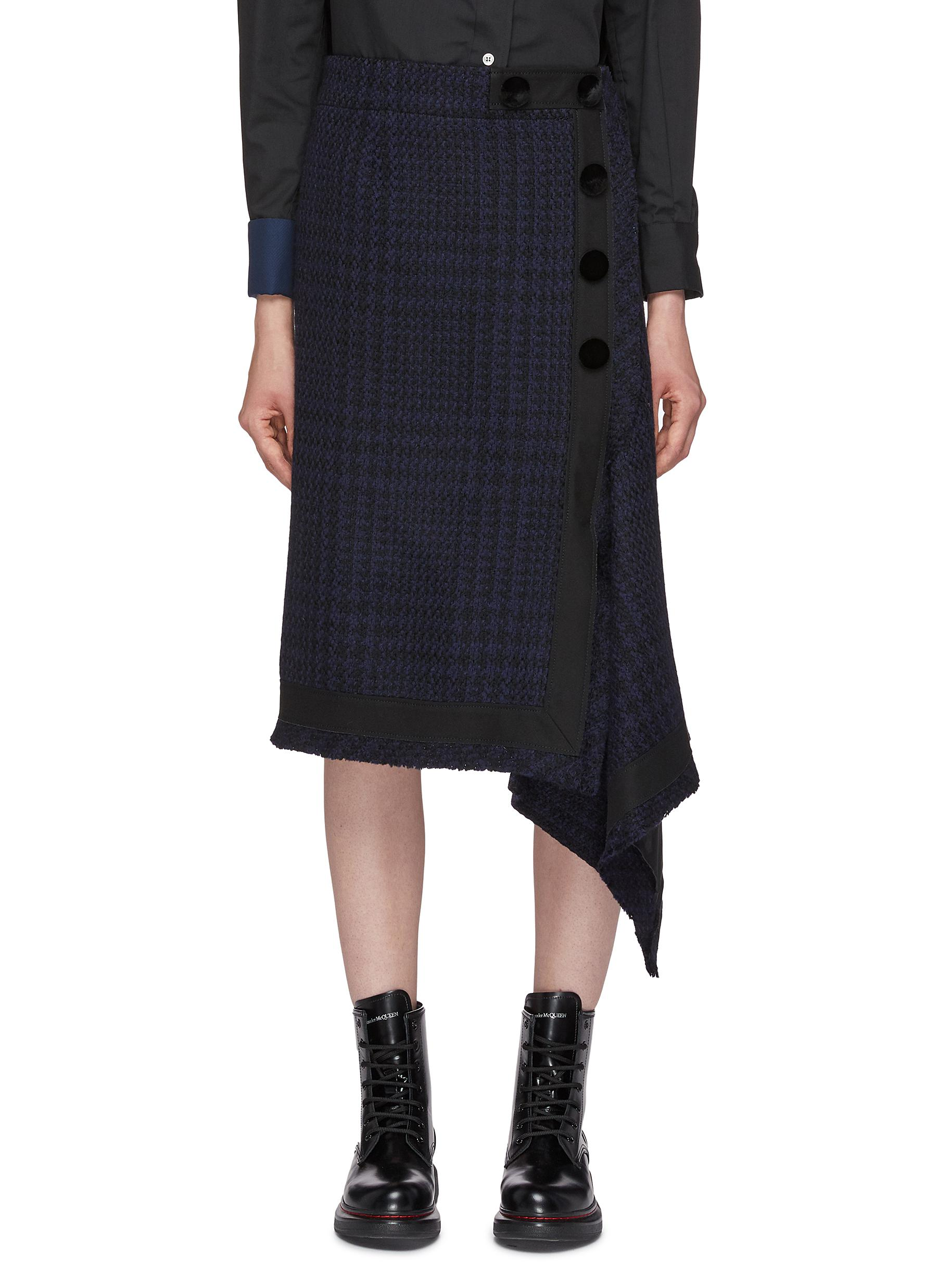 Button side asymmetric drape tartan plaid wool skirt by Sacai