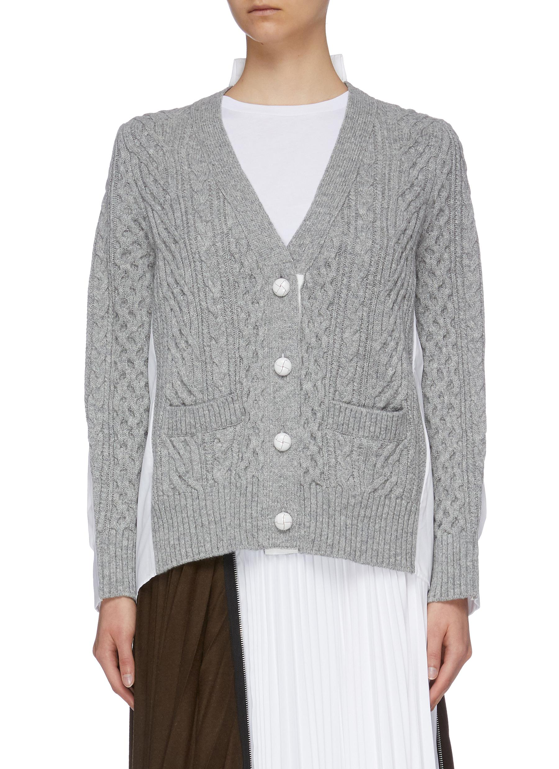Shirt back wool cable knit cardigan by Sacai