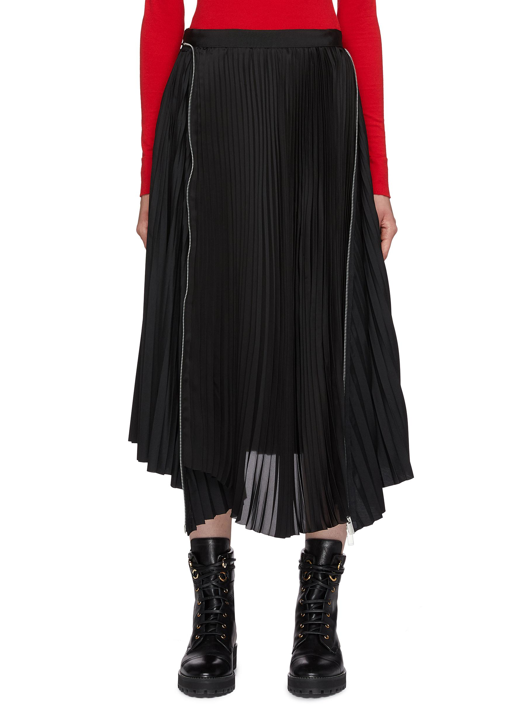 Zip panelled pleated skirt by Sacai