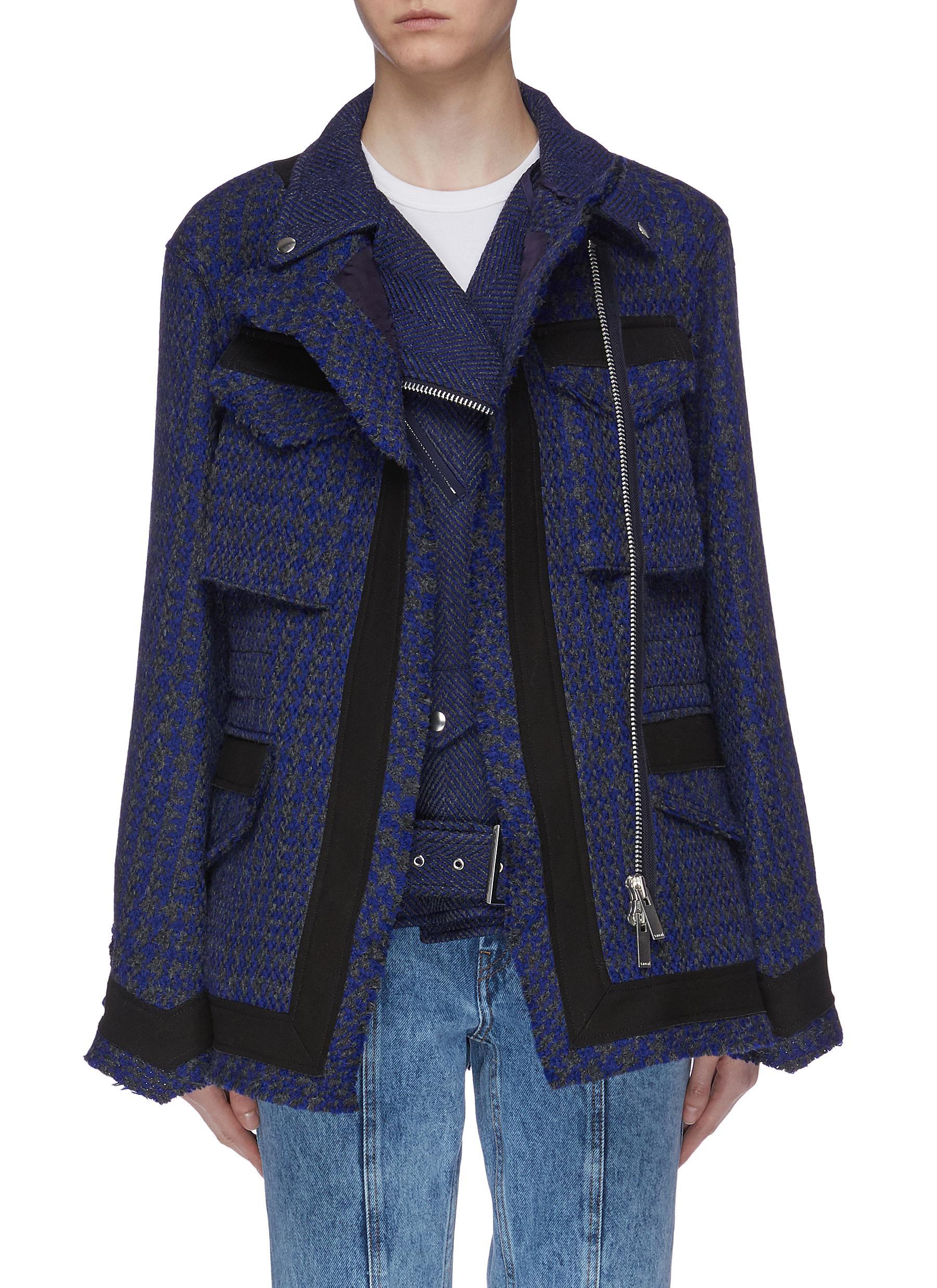 Layered flap pocket herringbone tweed biker jacket by Sacai