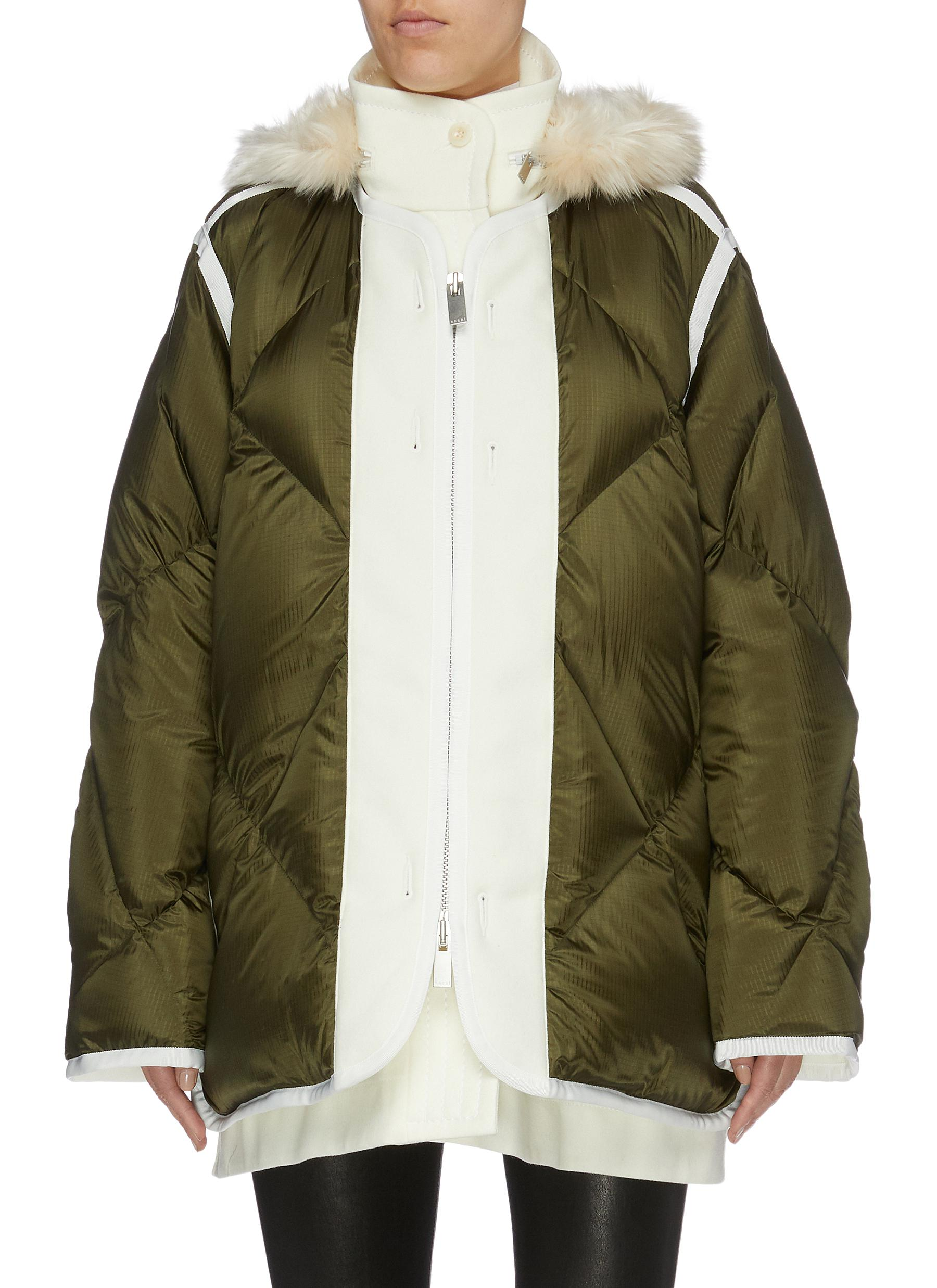Faux fur trim hooded contrast placket down puffer jacket by Sacai