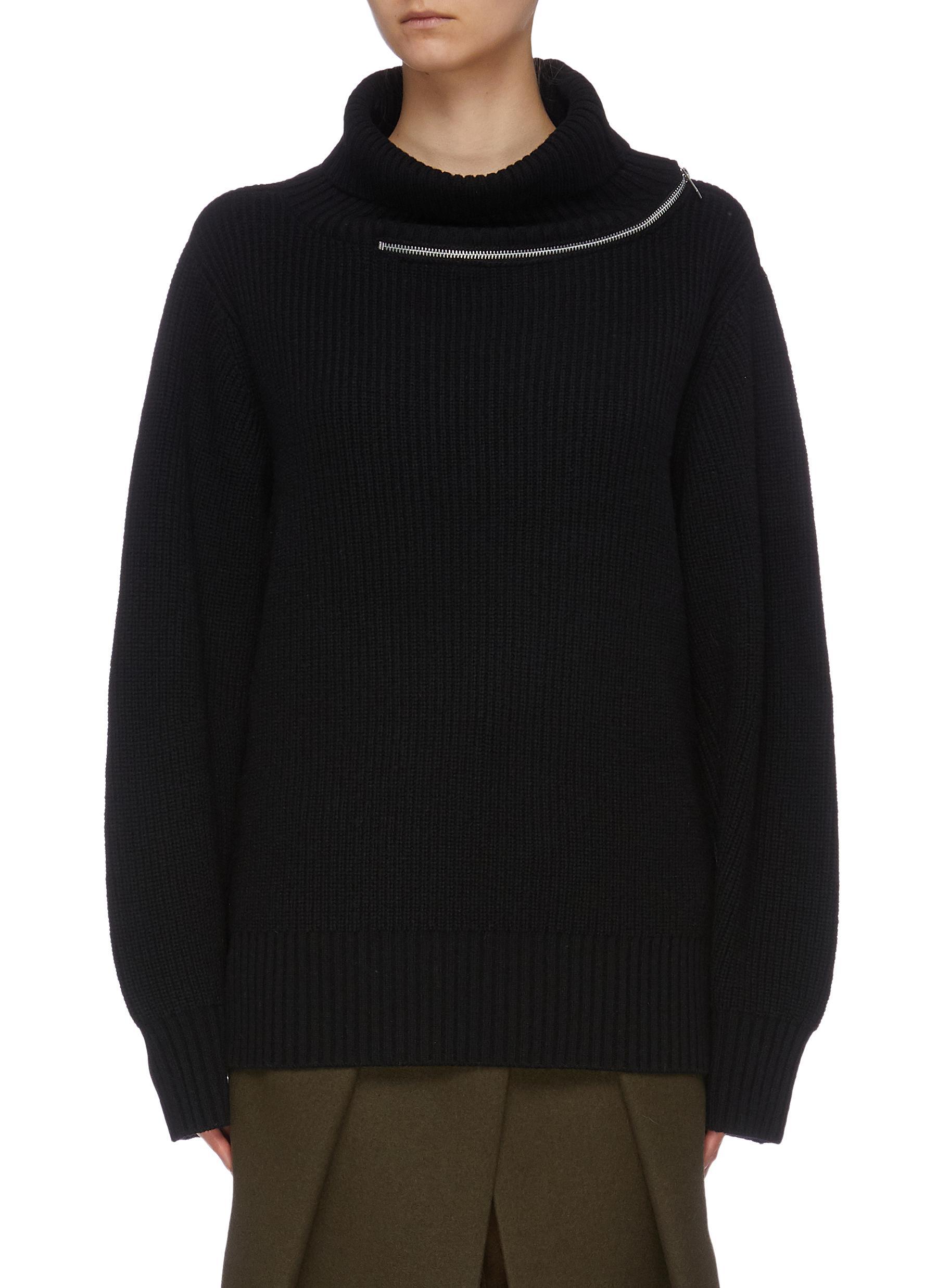 Zip collar colourblock back wool turtleneck sweater by Sacai