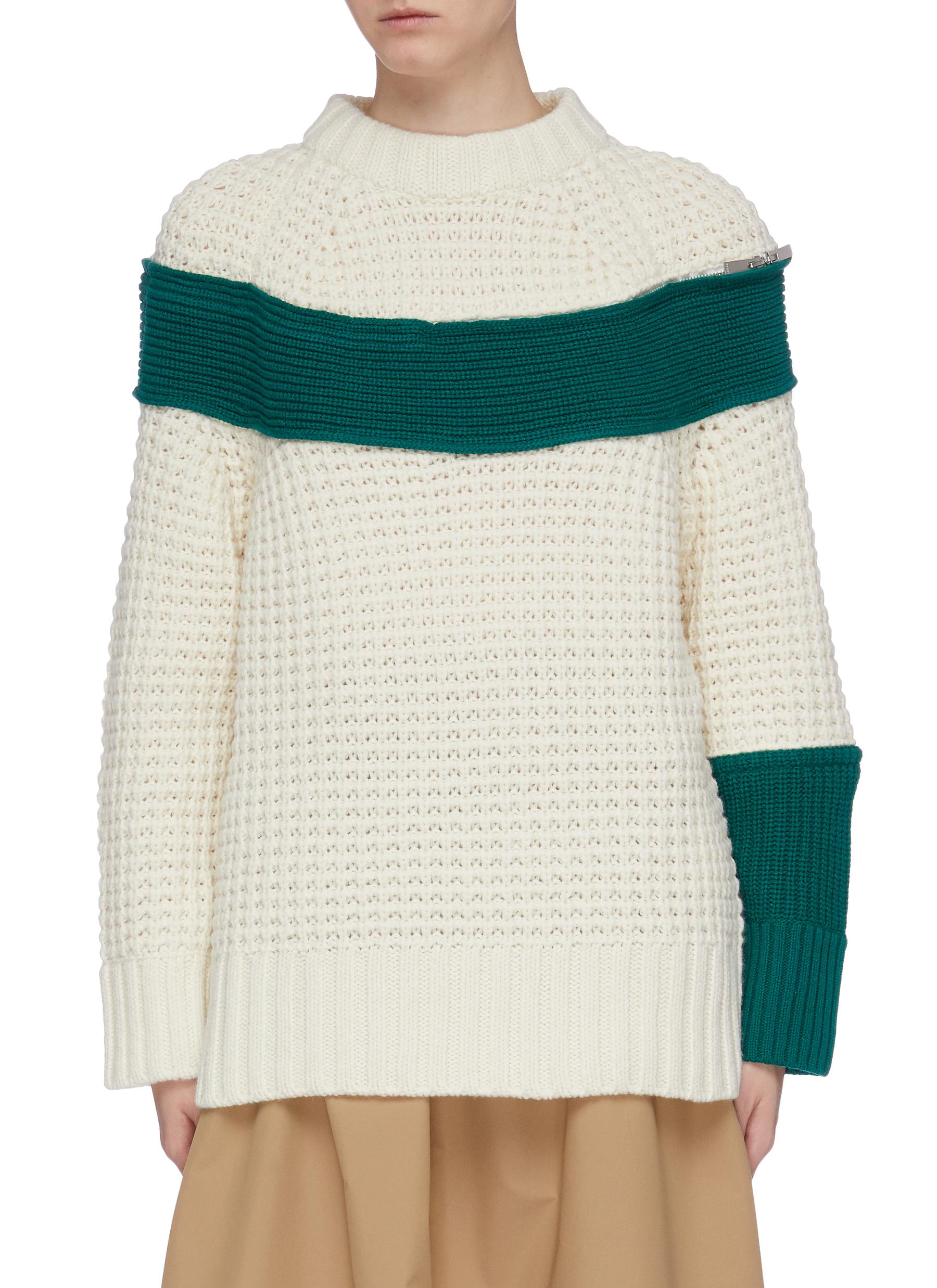Colourblock zip panel mix knit sweater by Sacai