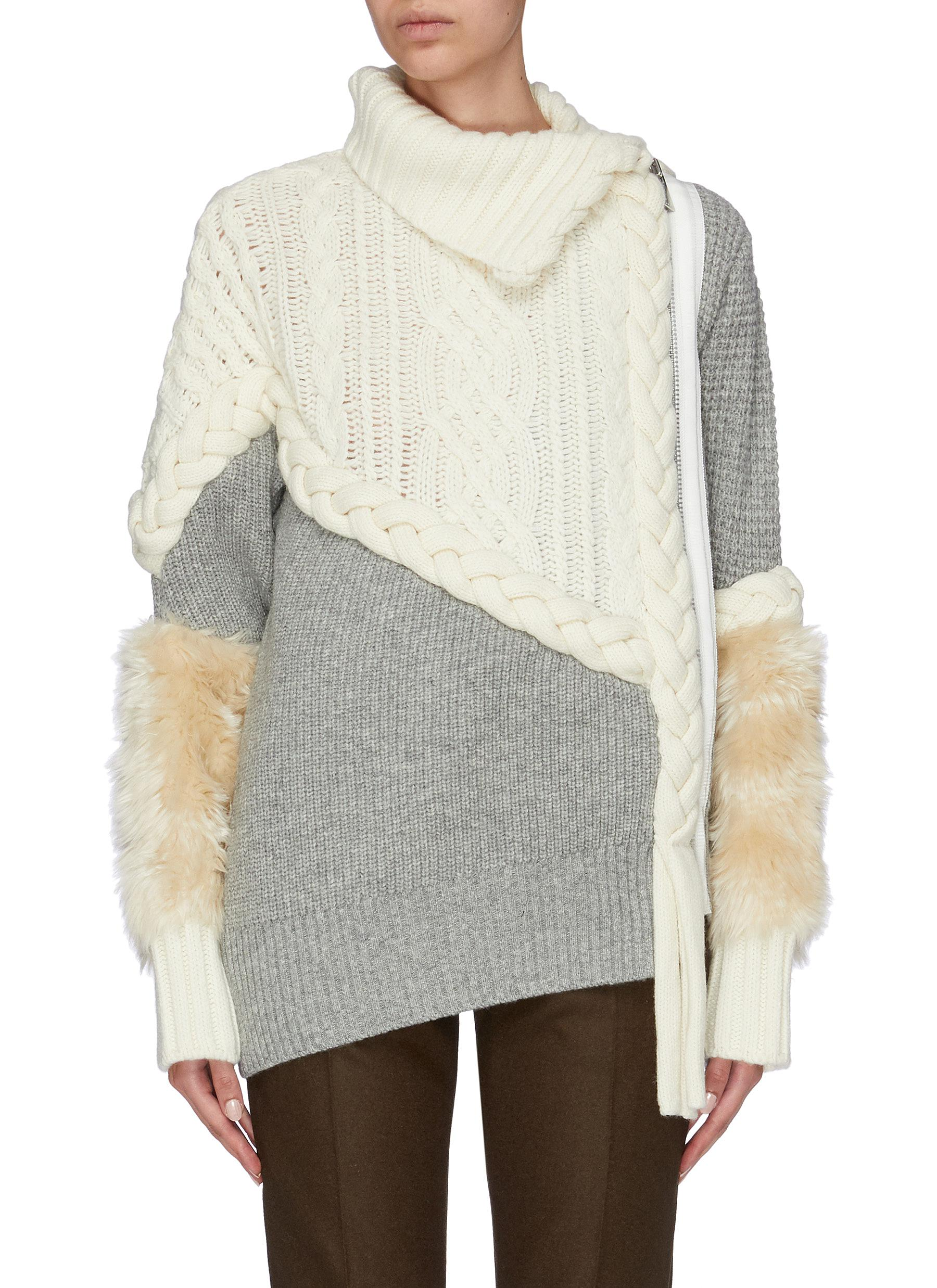 Faux fur panel mix knit patchwork turtleneck sweater by Sacai