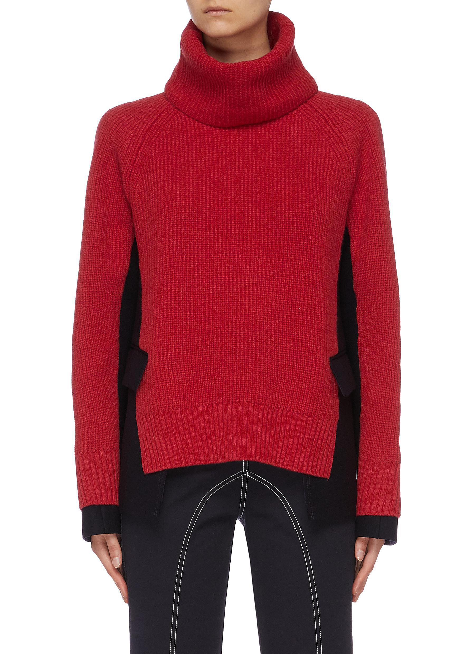 Detachable turtleneck contrast blazer panel sweater by Sacai
