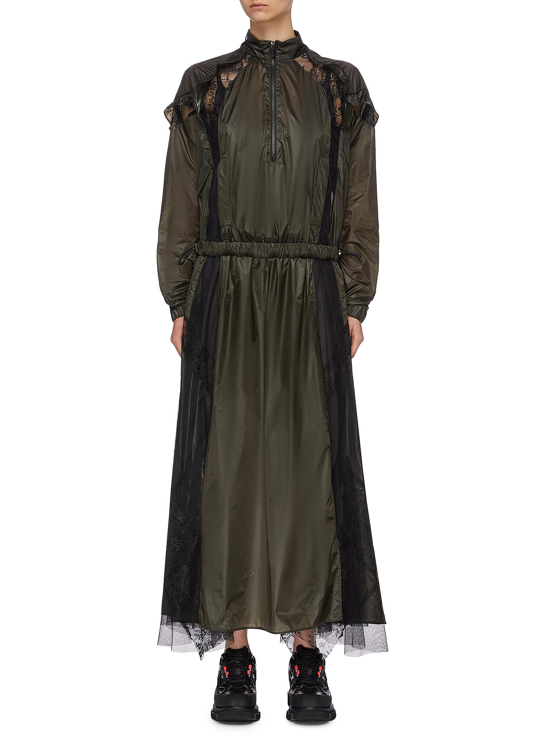 Lace mesh panel half-zip nylon dress by Sacai