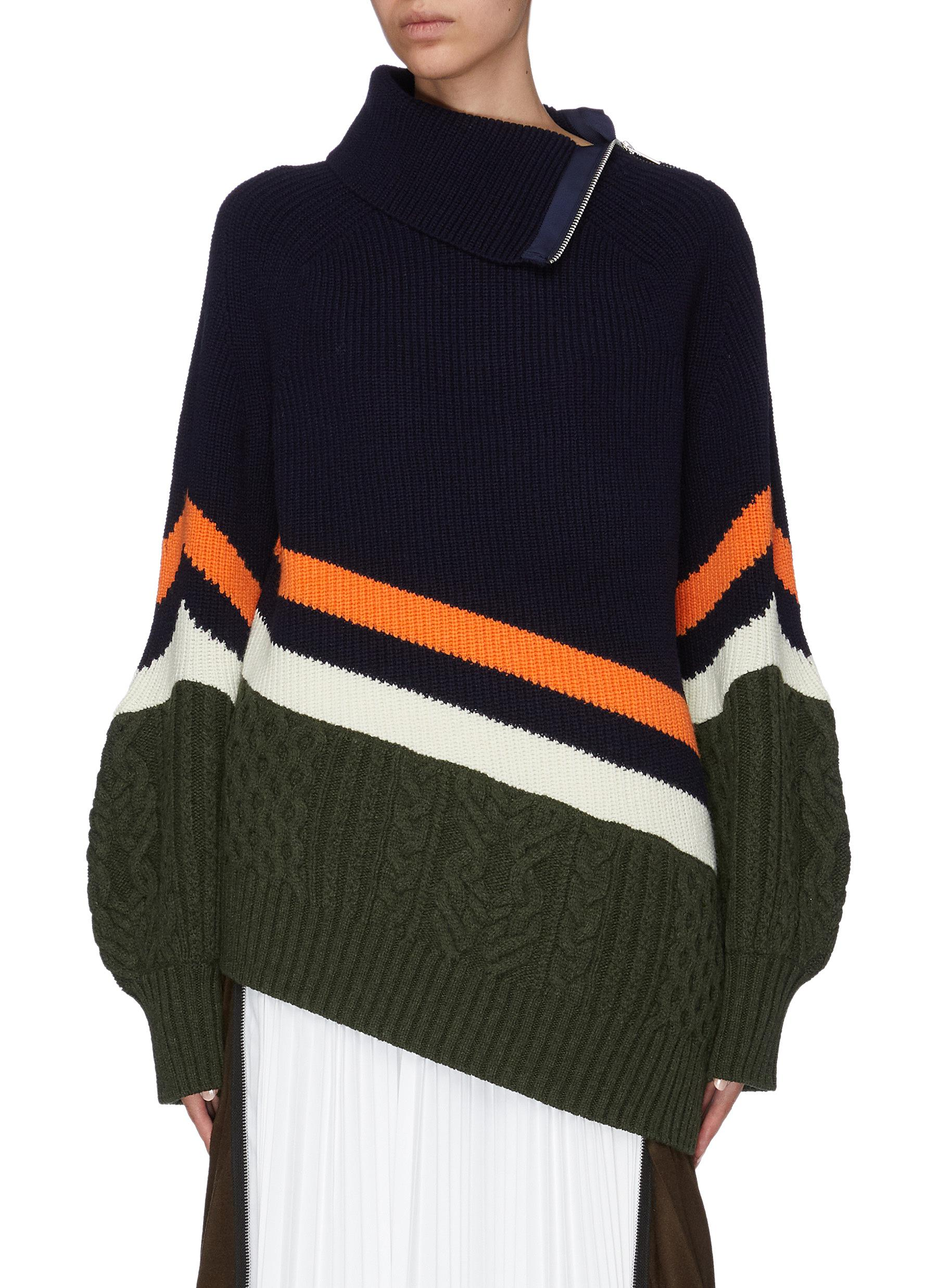 Colourblock mix knit puff sleeve turtleneck sweater by Sacai