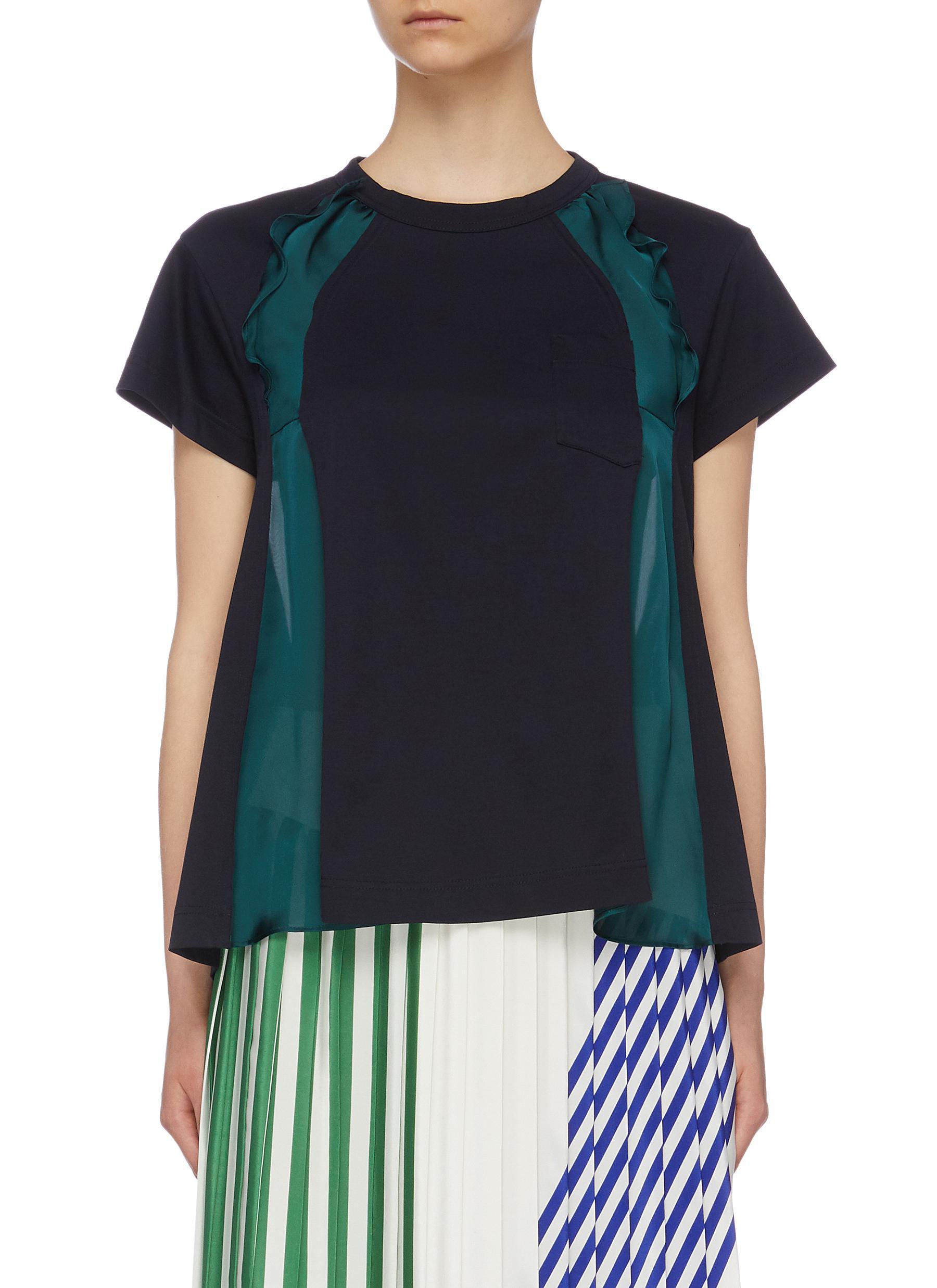 Ruffle chiffon panelled T-shirt by Sacai