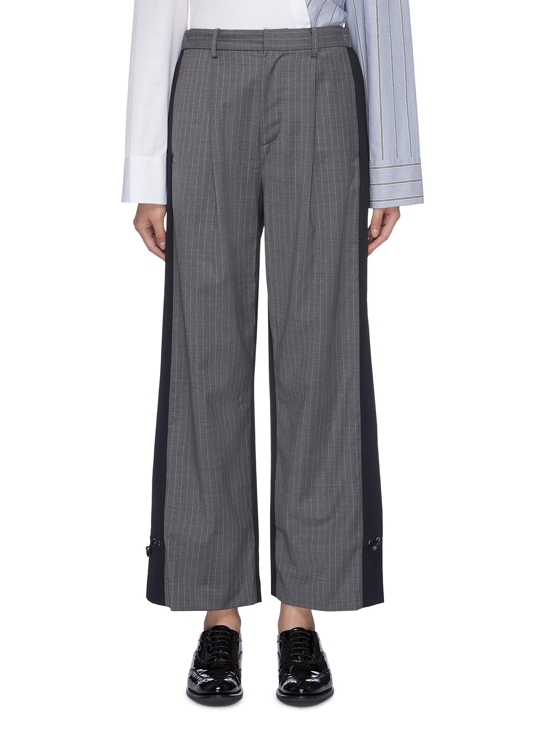 Drawcord cuff pinstripe front patchwork suiting pants by The Keiji