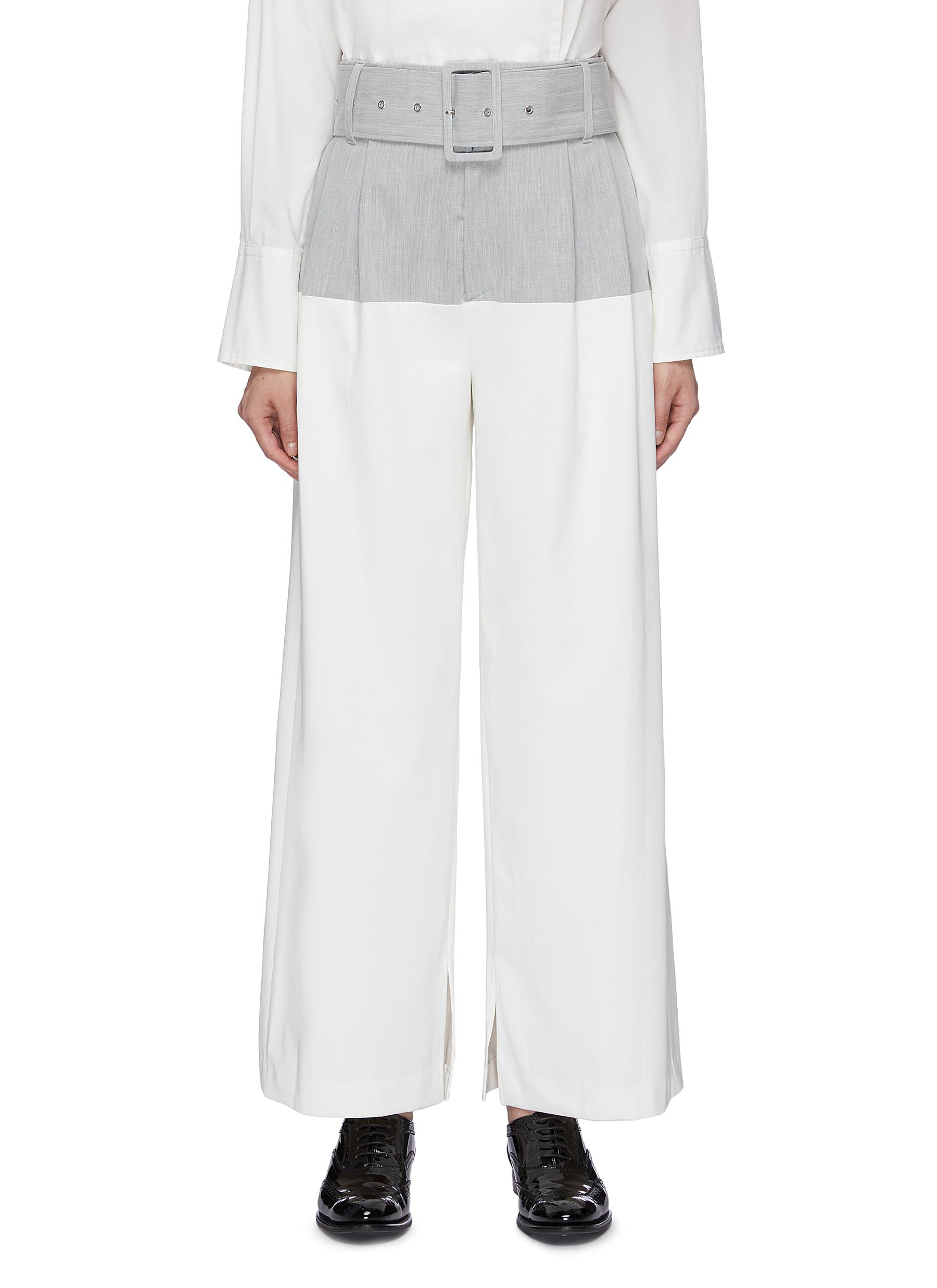 Belted colourblock wide leg pants by The Keiji